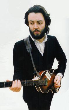 Paul McCartney with Hofner violin bass