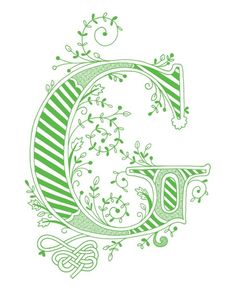 Hand drawn monogrammed print 8x10 the Letter G in by jenskelley
