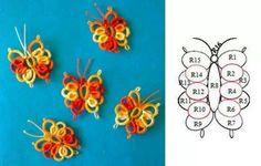 Risultato immagine per butterflies in tatting Shuttle Tatting Patterns, Tatting Patterns Free, Lace Patterns, Crochet Patterns, Tatting Necklace, Tatting Jewelry, Needle Tatting, Tatting Lace, Crochet Butterfly