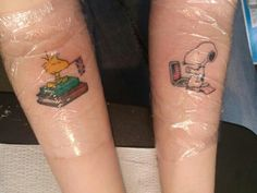 My baby girls first tattoos. (Fantasia is snoopy and her bff Jo is woodstock. She lives in England) Happy 18!