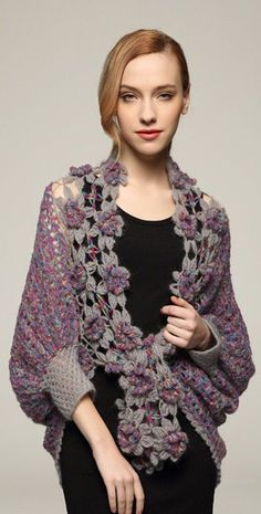 Posting here for idea. Link goes to product sales. Crochet Shrug Cardigan Sweater Elbow Sleeve by Crochet Cardigan Pattern, Crochet Jacket, Crochet Blouse, Crochet Scarves, Crochet Shawl, Crochet Clothes, Knit Crochet, Crochet Shrugs, Crochet Sweaters