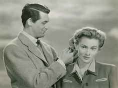 Hitchcock's Suspicion - Joan Fontaine, Cary Grant. One of my favorite scenes in the movie. Lol.