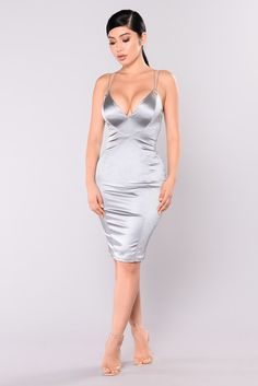 Feeling Some Way Dress - Silver