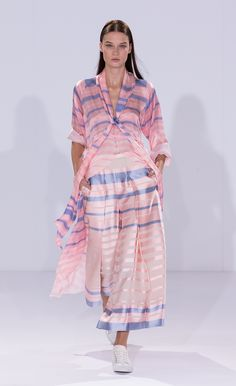 Temperley London Summer 15, Stripe Tie Neck Kaftan, Shore Wide Trousers, White Canvas Lace Ups