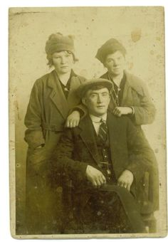 Michael Gannon with his sisters Bridget, left and Mary Kate right, probably taken just before he left to live in England. Bridget and Mary Kate later left to live in the US. Don't the girls look so sad to be losing their brother, Mary Kate died in childbirth having 1 daughter Peggy, Bridget had 5 children and a long life. —