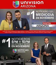 En inglés o español Univision Arizona es #1 en todos sus noticieros! En noviembre somos #1 en el noticiero del mediodía #EdicionDigitalAZ y #1 en los noticieros Univision Arizona a las 5 y 10pm (KTVW y KFPH). Gracias por su sintonía y confianza!#TuGenteTuVoz #EdicionDigitalAZ