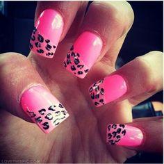 Pink half leopard nails girly cute nails girl nail polish nail pretty girls pretty nails nail art nail ideas nail designs leopard nails