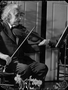 Physicist Dr. Albert Einstein Practicing His Beloved Violin Hansel Mieth