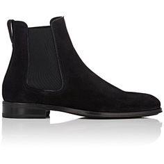 Salvatore Ferragamo Men's Darien Suede Chelsea Boots (€785) ❤ liked on Polyvore featuring men's fashion, men's shoes, men's boots, black, mens suede shoes, mens suede boots, mens beatle boots, mens chelsea boots and men's pull on work boots