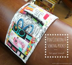 Arm Chair Pin Cushion and Sewing Pocket Tutorial - super simple. I love how it folds up so you can pack it around.