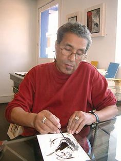 Mohamed Kacimi (1942-2003)  Born in Meknès, Morocco. Kacimi discovered his passion for painting at the age of 15, a passion he combines with poetry. His paintings are greatly influenced by the art of calligraphy and have been exhibited throughout the Arab world and France.