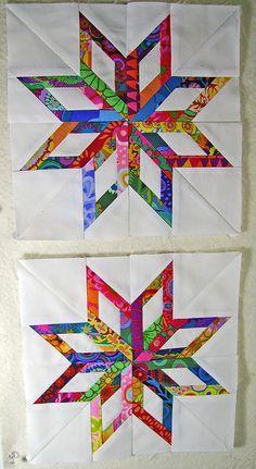 Twinkle twinkle little stars.....  Paper piecing Kaffe Fassett  strips on Southern Belle (Spring Industries) white.