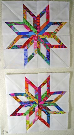Paper piecing Kaffe Fassett strips - Love how bright and colorful they are...very striking on the white background