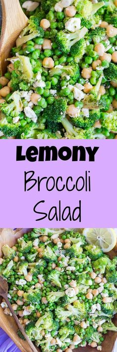 Lemony Broccoli Salad with Chickpeas and Feta - This salad is so easy to make, healthy and refreshing!  Perfect for a side dish or light lunch!  Vegetarian and gluten free.