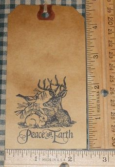 10 LARGE ~ PEACE ON EARTH WILDLIFE SCENE ~ PRIMITIVE GIFT HANG TAGS LOT #39