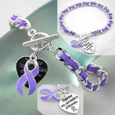 Purple Ribbon Cancer Awareness Toggle Bracelet w/ Suede,$4.75