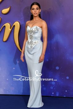 #NaomiScott got glam in a strapless light sky blue corset #formalgown for the European premiere of 'Aladdin'