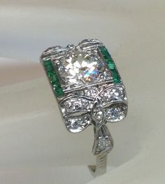 Art Deco 1.6 Carat Old European Diamond Engagement Ring Solid Platinum Antique #SolitairewithAccents