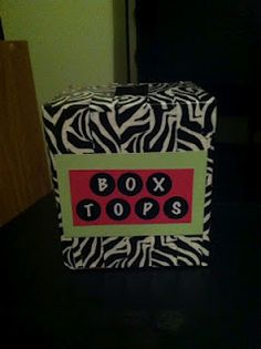 Zebra duct tape covering a tissue box for box top collecting-cute & practical!