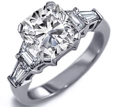 Engagement Ring - Cushion Cut diamond Engagement Ring setting with trapezoids and baguettes 0.60 tcw. - ES25CU