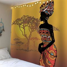 Home Decor African Girl Tree Sunset Waterproof Tapestry - Colorful - Inch * Inch African Wall Art, African Art Paintings, Tapestry Online, African Home Decor, Ethnic Decor, Africa Art, African Girl, Mural Art, Murals