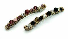 Narrow Gold Beaded Crystal Barrette -Tegen Accessories-Tegen Accessories  - 1 Gold Beads, Crystal Beads, Crystals, Hair Barrettes, Hair Clips, Barrette Clip, Luxury Hair, Fine Hair, Beaded Bracelets