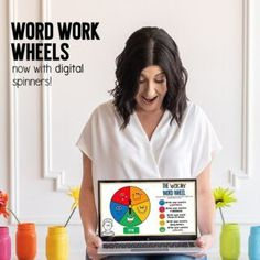 Eeeekkk! My favorite Word Work Wheels now have DIGITAL spinners! I made these babies in 2013 and I seriously use them EVERY year because they work with ANY word list! Students love them. Spin the spinner and write your word according to the picture the spinner landed on. (Use a paperclip and a pencil for the printable wheels.) Open the digital file on any device that has Microsoft PowerPoint installed and now you can spin the spinner with the click of a button! 🙌 Writing Words, Writing Practice, New Words, Cool Words, Fry Sight Words, Digital Word, Word Work Centers, Phonics Games, Sight Word Activities