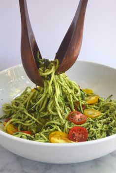 Creamy Zucchini Noodles with Basil Pesto + Roasted Tomatoes - What Annie's Eating