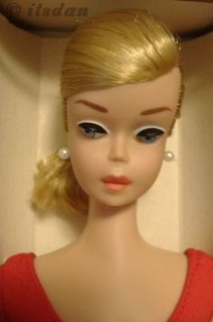 """Mattel Barbie doll Swirl Ponytail PT Helenca swimsuit 1960s    1964–65 Swirl Ponytail Barbie by Mattel MIB with tag and original Helenca swimsuit Earrings replaced to prevent """"green ear"""" Photo copyright itsdan"""