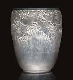 AIGRETTES No. 988 clear, frosted and grey stained vase wheel engraved R. LALIQUE FRANCE
