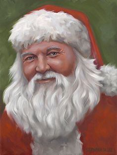 Santa Claus giclee art print on canvas art holiday Christmas Father Christmas, Santa Christmas, Vintage Christmas, Christmas Puppy, Christmas Ideas, Santa Paintings, Christmas Paintings, Christmas Artwork, Christmas Scenes