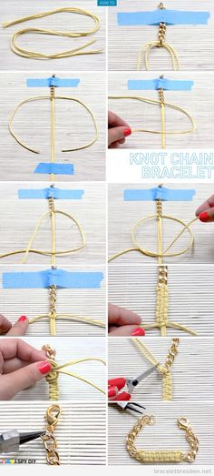 Tutoriel pour apprendre comment fabriquer un bracelet avec des chaines et fil de suedine