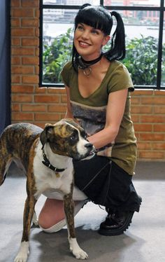 Miss Abby Sciuto and dog, NCIS, great tv series, love her style, stylish… Serie Ncis, Ncis Tv Series, Best Tv Shows, Favorite Tv Shows, Favorite Things, Ncis Abby Sciuto, Pauley Perrette Ncis, Gibbs Ncis, Detective