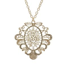 Long Gold Filigree Pendant Necklace