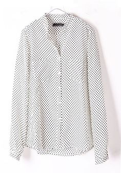 ++ White Polka Dot Pockets Round Neck Silk Blouse