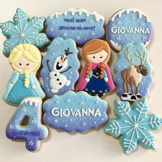 Frozen Theme, Frozen Party, Vanilla Cookies, Sugar Cookies, Cookies Decorados, Frozen Cookies, Cookies For Kids, 3rd Birthday Parties, Princesas Disney