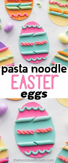 Pasta Noodle and Macaroni Easter Eggs - such a fun Easter craft for kids! This Easter activity is perfect for toddlers and preschoolers too. activities for preschoolers Pasta Easter Eggs Easter Arts And Crafts, Arts And Crafts For Teens, Spring Crafts For Kids, Easter Crafts For Kids, Easter Ideas, Easter With Kids, Easter Crafts For Preschoolers, Easter Subday, Easter Eggs Kids