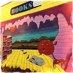 Austin mural at South Congress books by Gilliflower Austin Murals, Beautiful Streets, Graffiti, Street Art, Weird, Canvas, Books, Texas, Travel