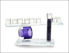 Menorah made with wedding glass shards - Jewish Holiday Judaica & Gift Ideas