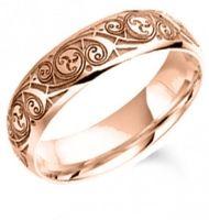 Rose Gold Book of Kells Wedding Ring - 5mm/6mm/7mm #Irish #Wedding #Band #Ring #Rose #Gold