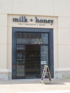 signage Milk and Honey Spa/store front Milk And Honey Spa, Shop Name Ideas, Feng Shui, Spa Store, Clothing Store Design, Spa Interior, Milk Shop, Salon Names, Spa Design