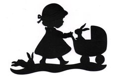 NEW design girl with stroller Silhouette die cut for scrap booking or card…