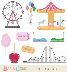 Funfair Clip Art Set, carnival clip art with rollercoaster by dariakonik