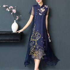 Rochie midi eleganta, model asimetric, cu broderie cu model floral, al