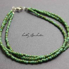 Turquoise Green Seed Bead Bracelet