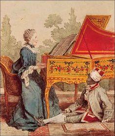 Mademoiselle Desgots Playing the Harpsichord with Laurent, 1766, by Louis Carrogis de Carmontelle (1717-1806) Musée Carnavalet