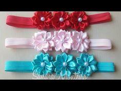 Tiara com flores e meia pérolas- How to make satin ribbon roses Diy Bow, Diy Hair Bows, Diy Ribbon, Fabric Ribbon, Ribbon Bows, Elastic Ribbon, Ribbon Embroidery Tutorial, Hand Embroidery Designs, Embroidery Ideas
