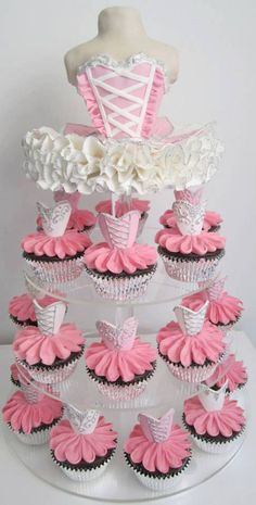 Ballerina Cupcake Tower. I need a little girl to make these for.