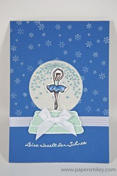 Schneekugel-Ballerina-Karte mit Material von Stampin' Up! - snowglobe card with ballerina with stamp set Sparkly Seasons from Stampin' Up!