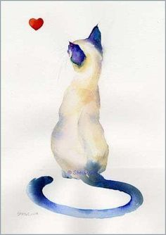Siamese cat watercolor painting by Sheila Gill #CatWatercolor